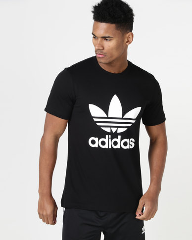 d1d8da0c700 adidas Originals Mens ORG Trefoil Tee Black White | Zando