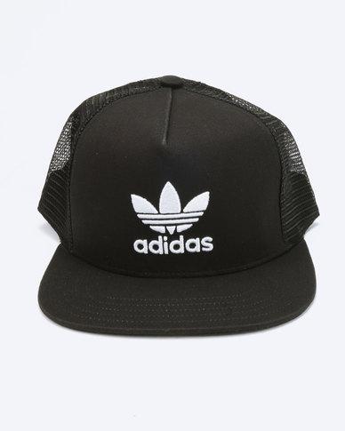 e3e4335fbd8 adidas Originals Trefoil Trucker Cap Black