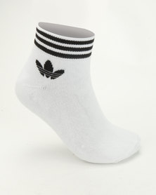 adidas Originals Trefoil Ankle Stripes 3pk Socks White