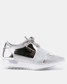London Hub Fashion Futuristic Sneakers Silver