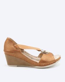 Butterfly Feet Giovanna Elastic Wedges Tan