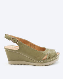 Butterfly Feet Demi Slingback Wedges Olive