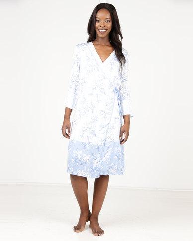 Women'secret Nightdress White/Blue