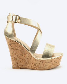 London Hub Fashion Cross Strap Wedges Gold