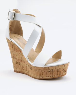 c4f4409fb55f London Hub Fashion Cross Strap Wedges White