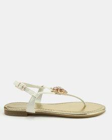 London Hub Fashion Flower Trim Thong Sandals White