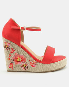 London Hub Fashion Espadrille Wedges with Embroidery Detail Red