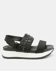 London Hub Fashion Embellished Wedge Sandals Black