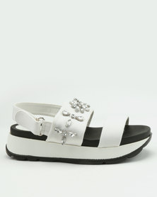 London Hub Fashion Embellished Wedge Sandals White