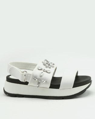 London Hub Fashion Embellished Wedge Sandals White