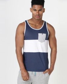 South Shore Tide Stripe Vest Navy