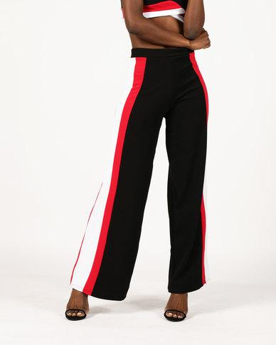 London Hub Fashion Sports Stripe Wide Leg Trousers Black