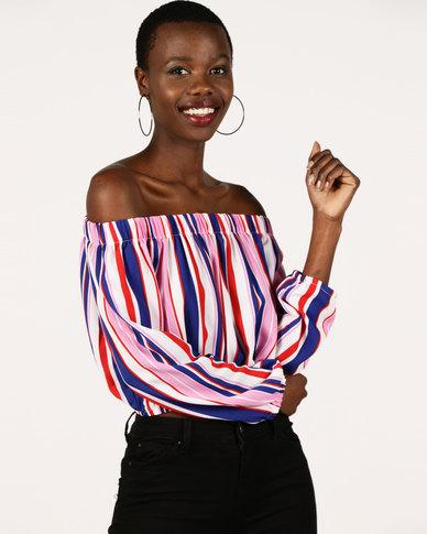 London Hub Fashion Striped Bardot Long Sleeve Top Multi