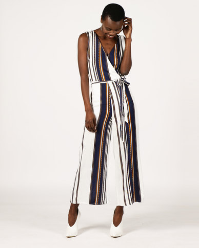ef8773f7490 London Hub Fashion Striped Wrap Front Jumpsuit White Navy