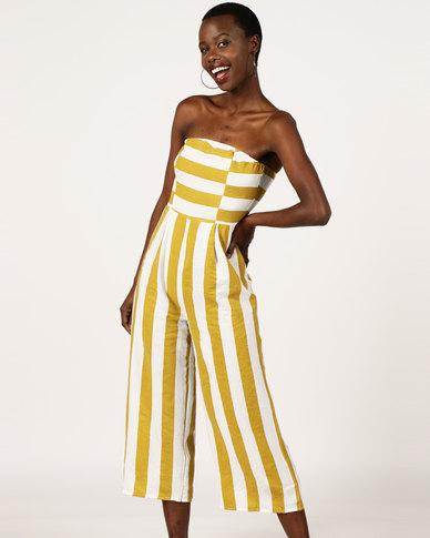 d293cd26d793 London Hub Fashion Striped Bandeau Jumpsuit White Yellow
