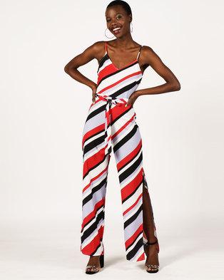 76c4ad688453 London Hub Fashion Striped Side Split Cami Jumpsuit White Red Black