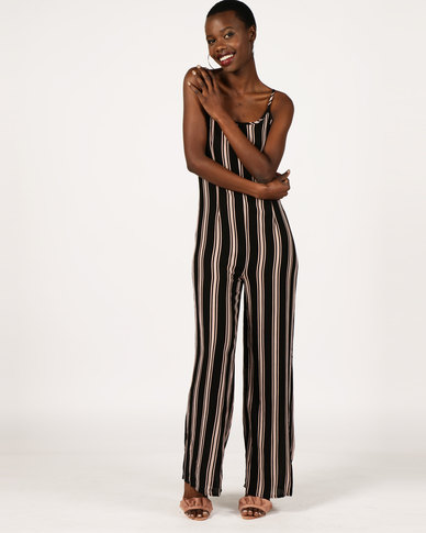 London Hub Fashion Vertical Stripe Wide Leg Jumpsuit Black/Nude