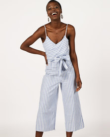 London Hub Fashion Striped Bow Front Cropped Jumpsuit Blue/White