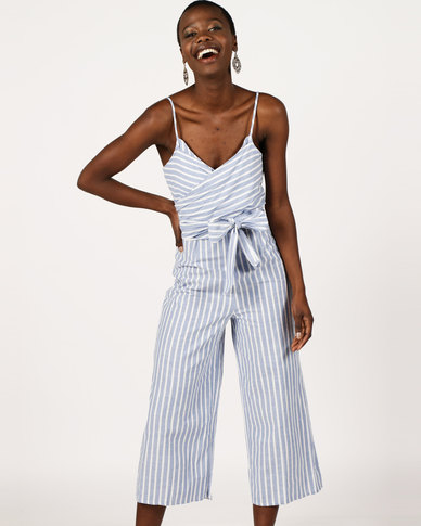 3dc47580a48 London Hub Fashion Striped Bow Front Cropped Jumpsuit Blue White