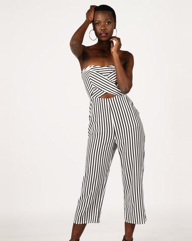 London Hub Fashion Strapless Cut Out Detail Stripe Jumpsuit White/Black