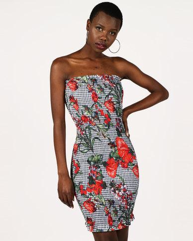 df2b73e2124 London Hub Fashion Gingham Floral Shirred Bandeau Dress Blue Red