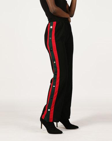 London Hub Fashion Button Detail Sports Trousers Black