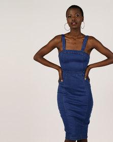 London Hub Fashion Bright Blue Stretch Denim Midi Dress Blue