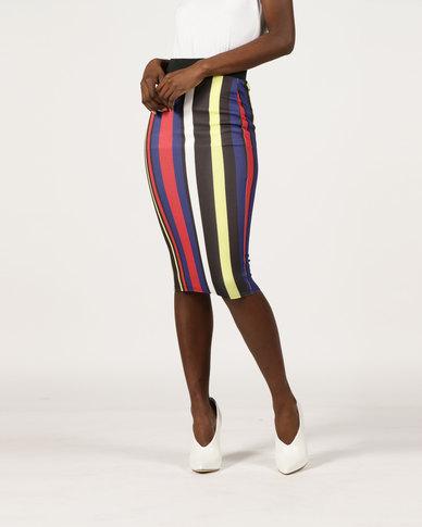 London Hub Fashion Vertical Stripes Print Skirt Multi