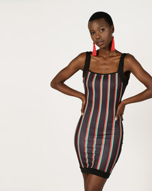London Hub Fashion Vertical Striped Sleeveless Bodycon Dress Multi