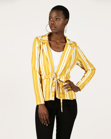 London Hub Fashion Stripe Belted Waist Blazer Yellow