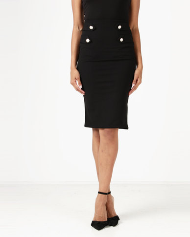 London Hub Fashion Sailor Style Button Detail Pencil Skirt Black