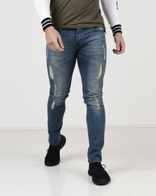 Loyalty & Faith Spain Skinny Marble Wash Stretch Ripped Jeans Blue