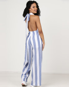 London Hub Fashion Vertical Stripe Plunge Front Wrap Tie Jumpsuit Blue/White