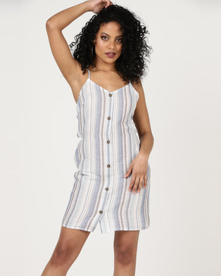 London Hub Fashion Vertical Stripe Button Up Cami Dress Blue