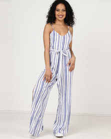 London Hub Fashion Vertical Stripe Belted Jumpsuit White