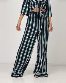 London Hub Fashion Stripe Self Tie Wide Leg Pants Navy