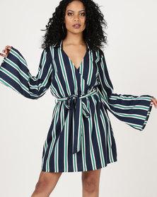 London Hub Fashion Stripe Plunge Neck Wrap Mini Dress Navy