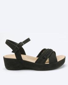 Bata Comfit Low Wedge Sandals Black