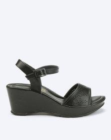 Bata Comfit Laser Cut Wedge Sandals Black