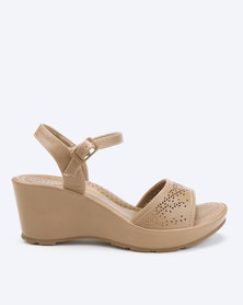 Bata Comfit Laser Cut Wedge Sandals Taupe