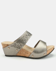 Bata Comfit Double Bandage Wedge Mules Pewter