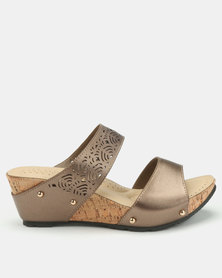 Bata Comfit  Double Bandage Wedge Mules Bronze
