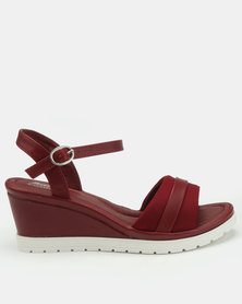 Bata Comfit Sporty Wedge Sandals Red
