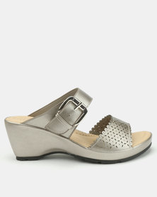 Bata Comfit Buckle Strap Wedge Mules Pewter