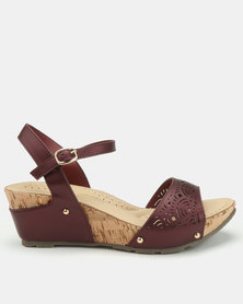 Bata Comfit Laser Cut Wedge Sandals Red