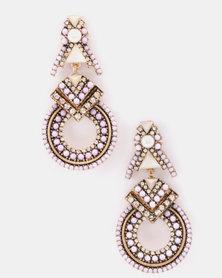Miss Maxi Art Deco Drop Earrings Purple