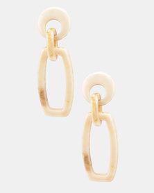 Miss Maxi Rectangle Drop Earrings Beige