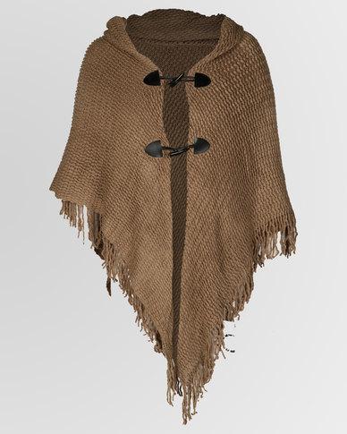 Blackcherry Bag Front-Tie Poncho Brown