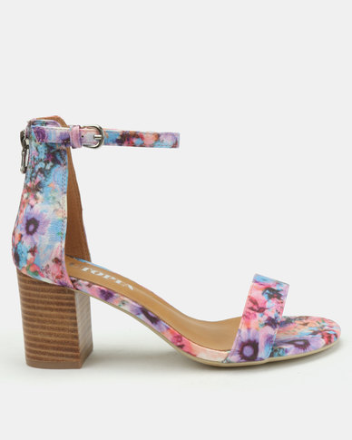 Utopia Printed Block Heel Sandals Purple