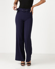 Sasson High Waisted Flare Pants Navy